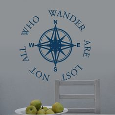 Compass Wall Decal Not All Who Wander Are Lost Words and sayings with Compass Rose College Dorm Decor Back to School , Teachers Classroom