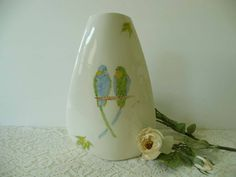Cute Vintage Signed Baatz Ceramics Vase With Hand Painted Parakeets by MossyCottage on Etsy