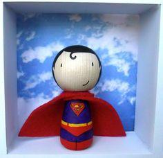 Superman Super Hero Birthday Cake Topper  hand by Pegitdolls, £10.00