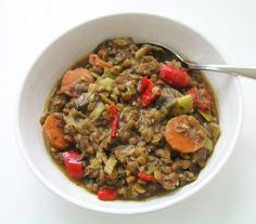 Green lentil and almond butter vegetable stew Lovely on a cold day – the almond butter adds a creamy texture and extra protein along with the lentils. Serve with brown rice or some good crusty bread. 200g green lentils, rinsed for a few seconds in a sieve 1 red onion, chopped 2 leeks, sliced 2 carrots, sliced 1 red pepper. chopped 2 sticks celery, sliced 3 tbsp almond butter 4 cloves garlic, crushed 1/2 tsp chilli flakes 1 tsp mixed dried herbs 2 tsp marigold organic vegetable bouillon 1 1/2…