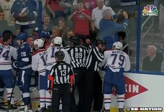 Fan at Lightning/Canadiens Game Takes a Selfie in Front of a Fight [GIF] | FatManWriting
