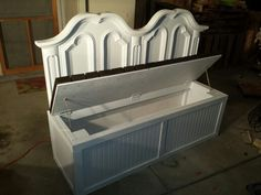 Repurposed queen headboard bench with storage