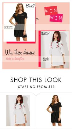 """Win Dresses: She In + Romwe"" by bklana ❤ liked on Polyvore featuring romwe and shein"