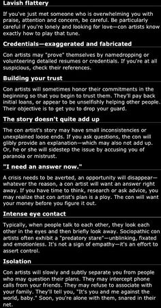 List Of Sociopath Tactics -Love Fraud. Experienced every single one of these.