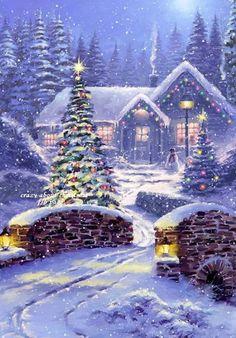 Christmas Scenery, Christmas Artwork, Christmas Poster, Noel Christmas, Christmas Paintings, Vintage Christmas Cards, Christmas Wallpaper, Christmas Pictures, Winter Christmas