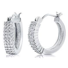 Sterling Silver 925 3-Row Cubic Zirconia CZ 0.7 inch Hoop Earrings