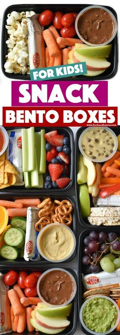 kids nutrition These Kids Snack Bento Boxes are the perfect answer for every busy mom who wants to feed their kids healthy snacks but are short on time. Healthy School Snacks, Healthy Afternoon Snacks, Healthy Meal Prep, Healthy Foods To Eat, Healthy Kids, Healthy Eating, Healthy Recipes, School Lunches, Snacks For Work