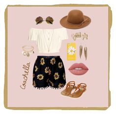 """""""Coachella"""" by hippiesandwich ❤ liked on Polyvore featuring Topshop, RHYTHM, Kate Spade, Roberto Cavalli, New Look, Forever 21 and Lime Crime"""