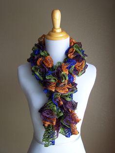 Lace Fashion Scarf Blue, Orange, Green, Purple. $18.50, via Etsy.