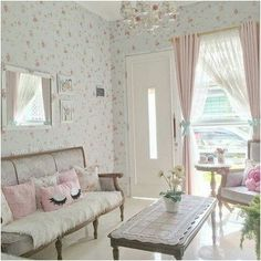Ruang tamu shabby chic Small House Interior Design, Simple House Design, Luxury Homes Interior, Living Room Designs, Living Room Decor, Small Apartment Decorating, Minimalist Home, Cozy House, Room Tour
