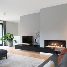 Future Fire Gray color could be used for entrance hall or right wi … – Kamin Wohnzimmer Modern - Living Room Home Interior Design, Home And Living, House Interior, Living Room Colors, Home Living Room, Home, Living Room Tv, Living Room Design Modern, Living Room With Fireplace