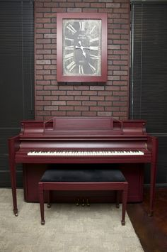 """""""Deep Burgundy"""" A Piano Revival Project by My First Piano artist Allison. See what other fun things we're up to at myfirstpiano.net #paintedpiano #piano"""
