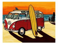 my son's artwork. So reminiscent of my teen and early college days. Surf Poster, Art Plage, Bus Art, Stencil, Beach Cars, Ecole Art, Vintage Surf, California Surf, Remo