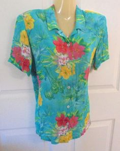 Koret Francisca Petite Small Turquoise Shirt Hawaiian Florals Salmon Accents…