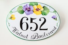 Pansies House name plaque House number plaque by DipintoAdArte                                                                                                                                                                                 Más