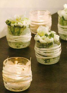 Trio candle | Floralie Kay Table Flowers, Diy Flowers, Flower Decorations, Table Arrangements, Floral Arrangements, Fleurs Diy, Wedding Ceremony Flowers, Wine Decor, Deco Floral