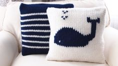RTS TWO Hand knitted Nautical theme pillow by MyMomsLittleKnits