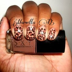 Neutral Leopard Print nail art  #nails #nailart