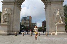 girl under Washington Square Park arches Caitlin Hartley of Styled American http://styledamerican.com/pop-of-yellow-2/