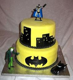 The Dark Knight Birthday Cake and Cupcakes.  Jerry wants for his 8th birthday cake.