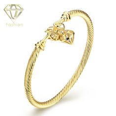 Gold Cuff Bracelet Luxury Design   Gold Color Screw Bangle with Double Cones Shaped Cute Jewellery for Girls Women Party