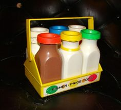 Vintage FISHER PRICE Milk Bottles and Case Toy