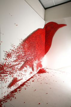 """Ran Hwang, """"Dreaming of Joy,"""" 2008. Six panel, buttons, pins, stainless steel bars. Practicing Zen, Hwang meticulously hammers thousands of pins and buttons to create her art. """"The filled negative space in the absence of the positive space suggests mortality at the heart of self-recognition."""" (image 4)"""