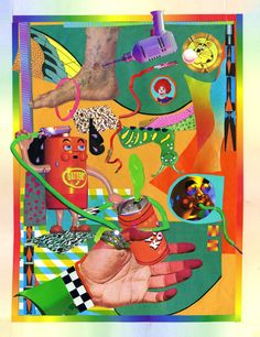 Ben Mendelewicz's work is a sickly mix of collage and digital manipulation, with lurid colours and gross representations of everyday life.