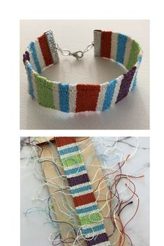 The Purl & Loop bracelet loom is a great way to use up thread or yarn stash. However, working with extra colors can leave you with lots of end tails to work with. This video tutorial will show you how to deal with those and finish your new woven bracelet. Yarn Bracelets, Bracelet Crafts, Handmade Bracelets, Jewelry Crafts, Pin Weaving, Inkle Weaving, Inkle Loom, Diy Jewelry Tutorials, Yarn Stash