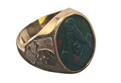Masonic Bloodstone Ring Gold Plated Impressive Hand by Regnas