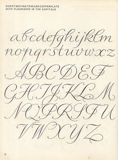 vintage script alphabet ~ Script Lettering (1957), M. Meijer ~ script moving toward copperplate with flourishes in the capitals