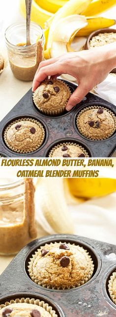 Almond Butter, Banana, Oatmeal Blender Muffins | You'll love how easy and tasty these flourless Almond Butter, Banana, Oatmeal Blender Muffins are! It's as easy as blend, bake and store in the freezer (Almond Butter Cookies)