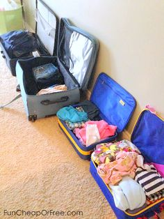 Pull your suitcases out at the beginning of the week leading up to your trip. Toss stuff in throughout the week and it keeps you organized, prevents over-packing, and cuts down on pre-trip laundry! + tons of other holiday travel tips. #travel #organization #holidays