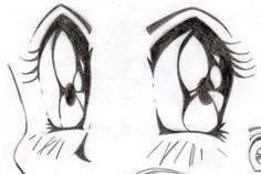 Esboço de caderno de olhos de mangá, técnica com lápis garfite.