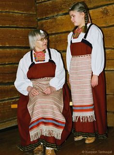 Rekko costumes of the Karelian Isthmus and Ingria Folk Costume, Costumes, Different Patterns, Indigo, Two By Two, Stripes, Finland, People, Fantasy