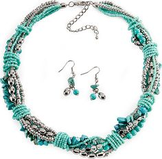 Turquoise and silver twisted jewelry