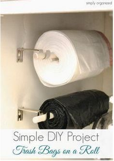 Trash Bags On A Roll DIY Project Sometimes you come across a kitchen organizing household tip that makes your life just a bit easier as in trash bags on a Kitchen Pantry, New Kitchen, Kitchen Storage, Kitchen Ideas, Pantry Storage, Kitchen Cabinets, Kitchen Decor, Kitchen Design, Pantry Cupboard