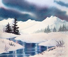 Winter Landscape. watercolor, 11 x 15