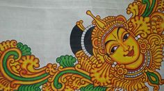 Cochin Murals is here to develop the Mural paintings art form allover the world especially in Kerala India.Mural Panintings in sarees, walls, pots etc is done here. Saree Painting, Kerala Mural Painting, Fabric Painting, Ganesha Painting, Ganesha Art, Madhubani Painting, Black Canvas Paintings, Simple Acrylic Paintings, Indian Traditional Paintings