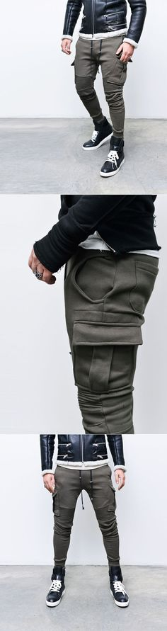 Bottoms :: Sweatpants :: Designers Seaming Cargo Slim Cuffed-Sweatpants 161 - Mens Fashion Clothing For An Attractive Guy Look