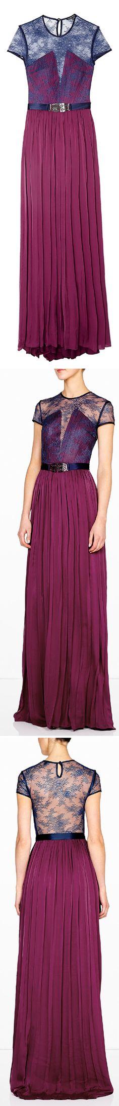 Purple Primrose Satin Georgette Dress