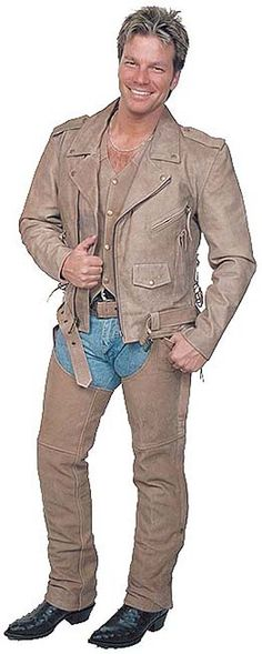 Light brown leather motorcycle jacket. Features side lacing, buffalo leather and zip out lining and more. Matching chaps available. #M16ZLN  with matching vest #VM608N and matching brown leather chaps #C704N.