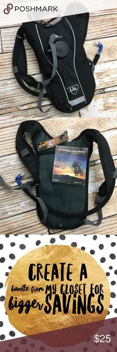 """NWT High Sierra Hydration pack NWT High Sierra Hydration pack  🌵Bundle deals available. I carry various sizes/brands. 🌵No trades, holds, or modeling. 🌵All reasonable offers accepted only through """"offer"""" button. No lowball offers please. Please submit final offer willing to pay as I prefer to not counteroffer. 🌵Happy Poshing! sierra Bags"""
