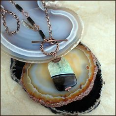 Green Agate, Banded Black Onyx and Smoky Quartz Pendant Necklace by TracyCreatesStore on Etsy #copper #TracyCreates