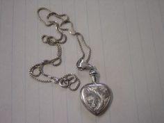 "Vintage Old 1980's Sterling Silver Heart Shape Perfume Bottle Pendant on 18"" CH | eBay"