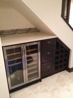Basement Makeover, Basement Renovations, Home Remodeling, Bar Interior, Room Interior, Interior Design, Stair Storage, Wine Storage, Kitchen Storage