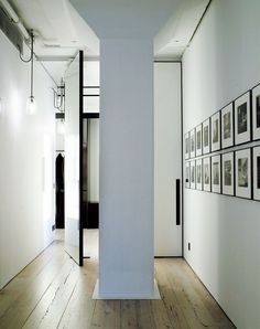 Pivot doors within hallway (Tribeca loft, Manhattan) by Fearon Hay Architects (New Zealand). Pivot doors used to divide space with minimum interference with the existing structure & volume. House Design Photos, My Home Design, Cool House Designs, Modern House Design, Modern Interior Design, Interior Architecture, Loft Design, Design Room, Design Hotel