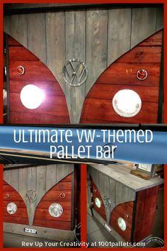 Le croisement du bois de palette, bois d'échafaudage et de pièces VW  #CarBar, #ManCave, #PalletBar, #RecyclingWoodPallets, #VwBar