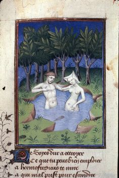 Detail of a miniature of Hermaphroditus and the nymph Salmacis bathing in a lake, in 'L'Épître Othéa'. France, Central (Paris). Attributed to the Master of the Cité des Dames and workshop.