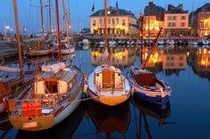 Honfleur, Normandy, France - harbor at night